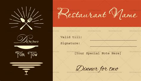 dinner   gift certificate templates editable