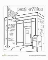 Office Coloring Town Paint Worksheet Pages Education Worksheets Mailman Clipart Preschool Kindergarten Crafts Mail Places Community Drawing Preschoolers Activities Template sketch template