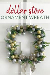 Dollar, Store, Ornament, Wreath, -, An, Easy, Square, Wreath, With, Mini, Metallic, Ornaments