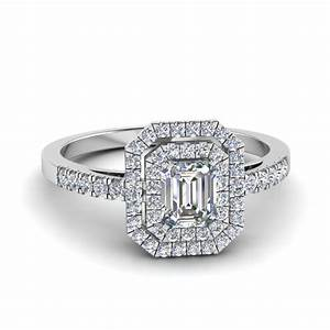 French Pave Diamond Emerald Cut Double Halo Ring In 14K ...