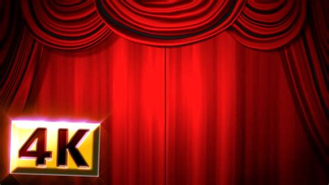 stock footage  red stage curtain drapes