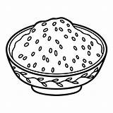 Rice Coloring Bowl Steamed Japanese Clip Illustrations Mushrooms Colorless sketch template