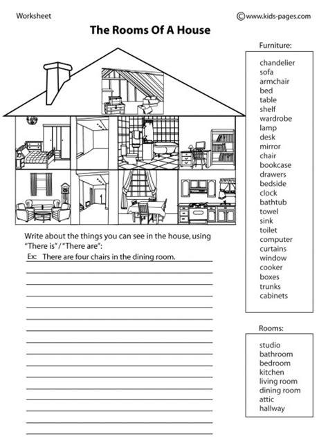 house parts  bw worksheet