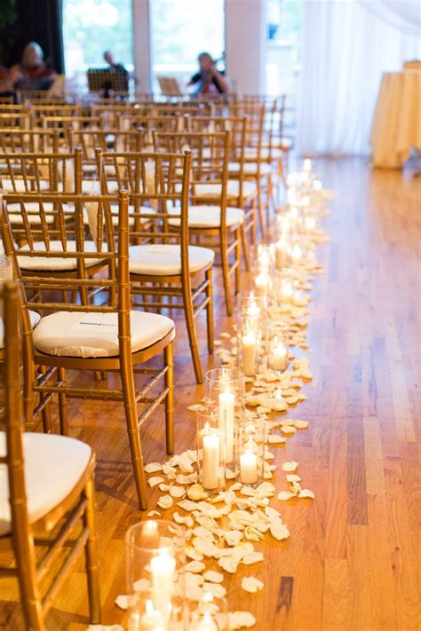 Candles Down The Aisle Wedding Candles Petals Lining The