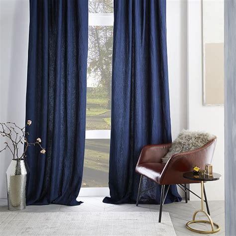 belgian flax linen curtain midnight west elm