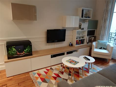 ikea bureau besta meuble tv sur mesure en customisant des caissons besta