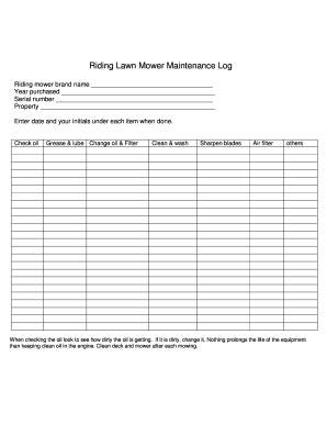 fillable online riding lawn mower maintenance log