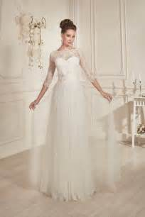 wedding dress 3 4 sleeve modest classic a line floor length ivory tulle wedding dress with 3 4 lace sleeve sale