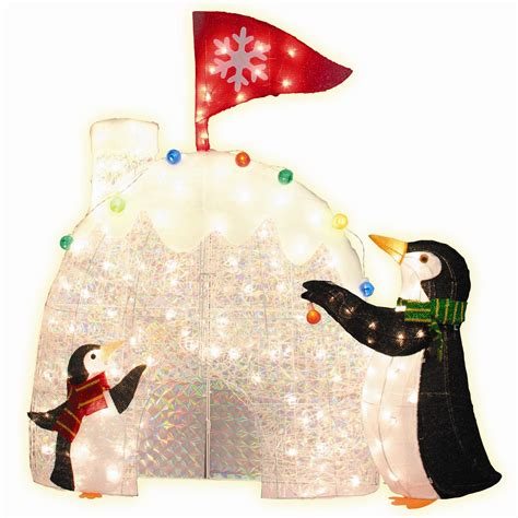 set   pre lit penguins  igloo christmas decoration