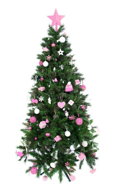 decorated christmas tree with patchwork ornament pink star