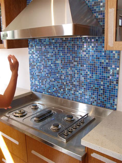 mosaic tiled splashback kitchen kinds of blue splashback tiles multi hued blue glass 7868