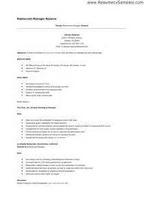 resume for restaurant 14 top restaurant resume sle recentresumes