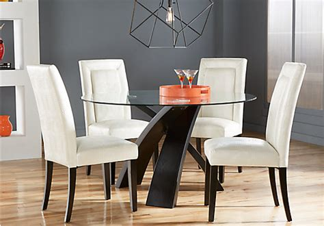 del mar ebony  pc  dining set white chairs contemporary