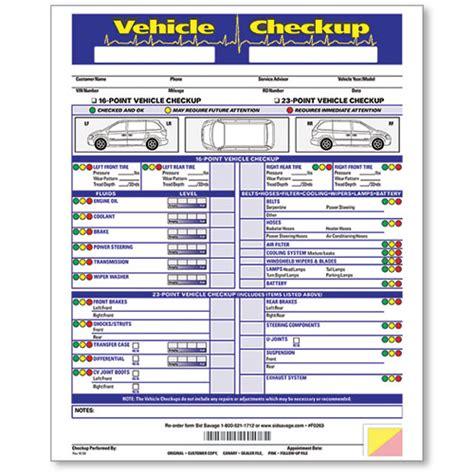 bureau inspection automobile 3 part vehicle check up form car dealership forms