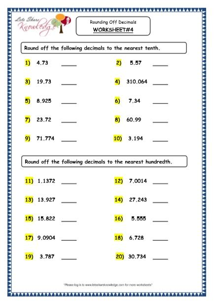 grade 4 maths resources 3 4 rounding decimals printable worksheets lets knowledge