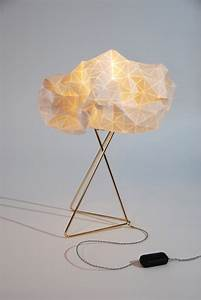Origami table lamp white shade gold base textile lamp for 7 inch table lamp shades
