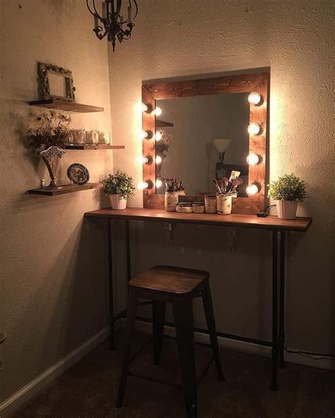 cute easy simple diy wood rustic vanity mirror  hollywood style lights   makeup room