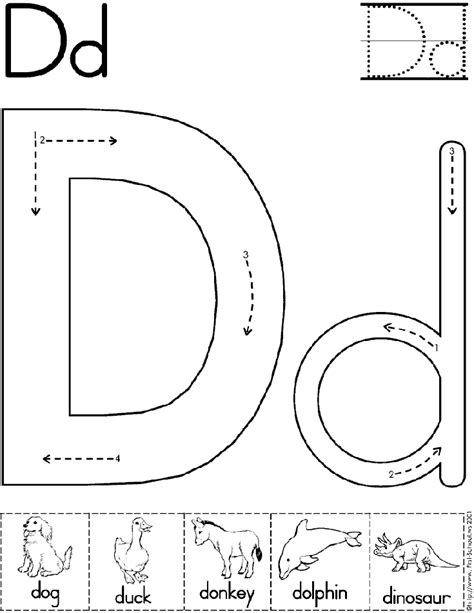 Alphabet Letter D Worksheet  Preschool Printable Activity  Standard Block Font Early