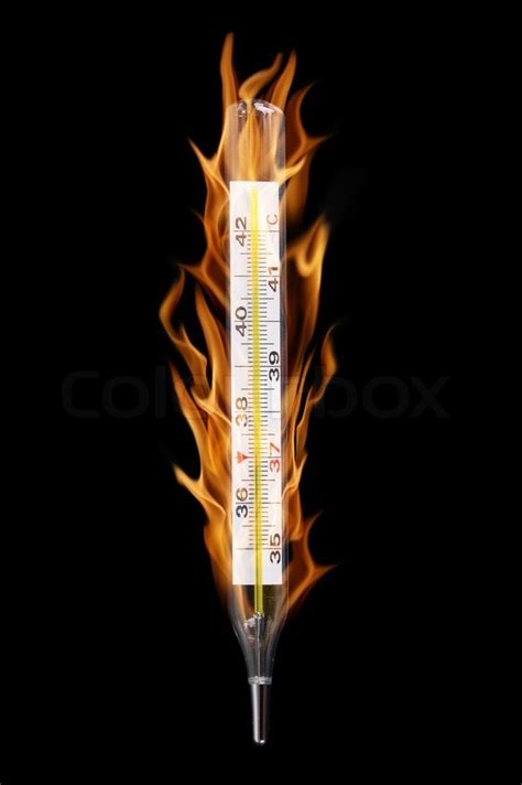 burning medical thermometer shows temperature