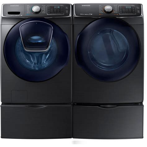 black washer and dryer samsung black stainless washer electric dryer pedestals