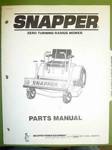Snapper Zero Turning Radius Mower Parts Manual No  06413