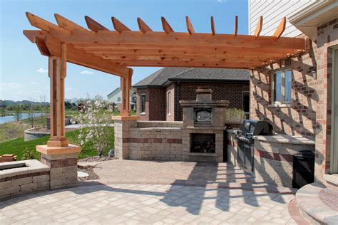 fascinating outdoor kitchen design  wooden canopy