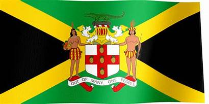 Jamaica Flag Country Coat Arms Waving Flags