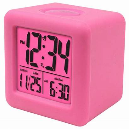 Alarm Clock Digital Purple Cube Pink Lcd