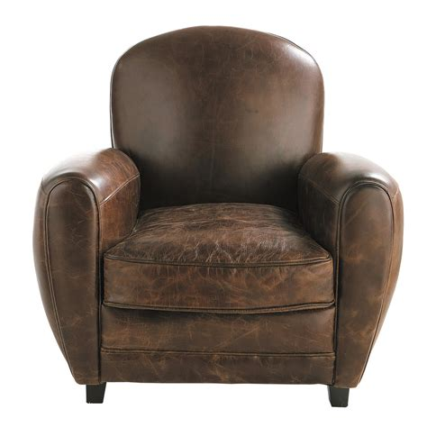 chaise de bar cuir leather armchair in brown oxford maisons du monde
