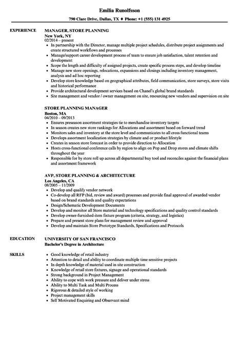 Store Planning Resume Samples | Velvet Jobs