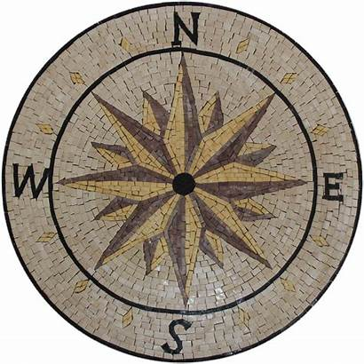 Compass Medallion Earth Mosaic Marble Tones Round
