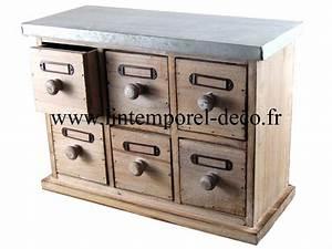 Petit Meuble à Tiroirs : petit meuble mercerie 6 tiroirs bois m tal lintemporel ~ Teatrodelosmanantiales.com Idées de Décoration