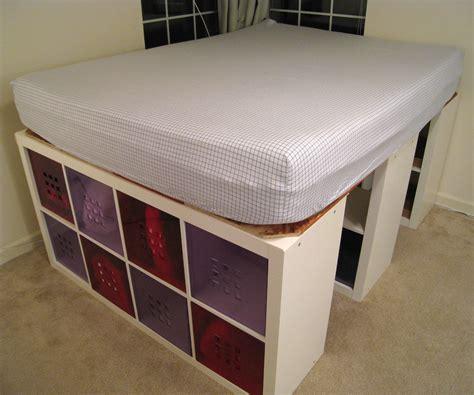 raised bed  expedit bookshelves  storage