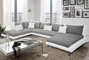 Canape Gris Et Blanc : canap d 39 angle en pu blanc et tissu gris duccio 2 salon hall furniture sofa design et salon ~ Melissatoandfro.com Idées de Décoration
