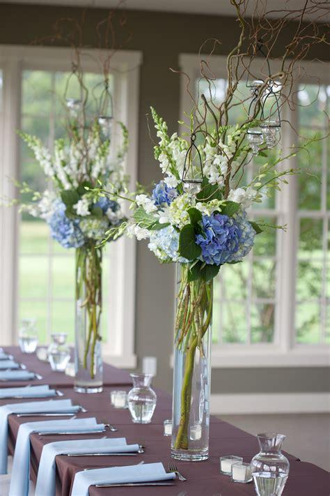 blue  white reception wedding flowers wedding decor