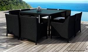 Table De Jardin Tressé : table de jardin carre et 8 fauteuils en rsine tresse avec coussins ~ Teatrodelosmanantiales.com Idées de Décoration