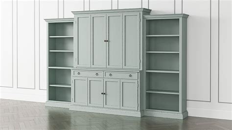 Blue Bookcases by Cameo Blue Grey 4 Entertainment Center With Open