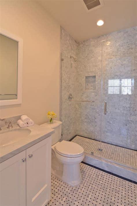 transitional bathroom  gray marble tile shower hgtv