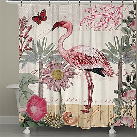 flamingo shower curtain laural home 174 botanical flamingo shower curtain bed bath