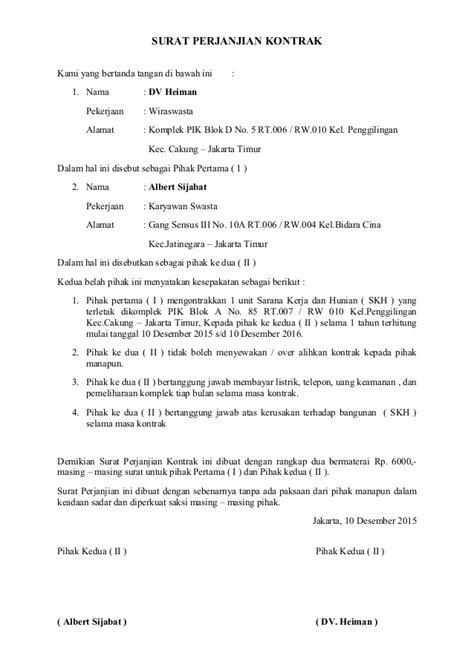 Contoh Surat Lamaran Cpns Kemenristekdikti by Contoh Surat Perjanjian Kontrak Bangunan