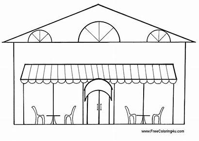 Restaurant Drawing Clipart Building Coloring Drawings Pages