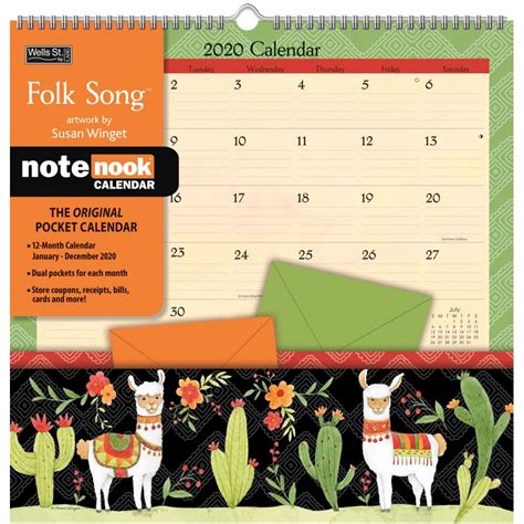 folk song pocket wall calendar