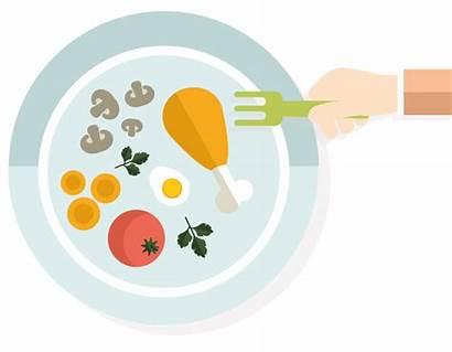 Plate Healthy Cartoon Clipart Diet Dinner Balanced
