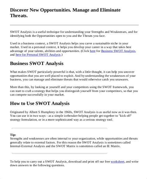 sample business swot analysis  documents   word