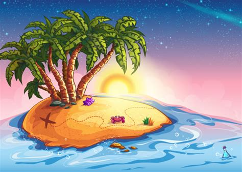 Cartoon Island With Palm Tree Vector Material