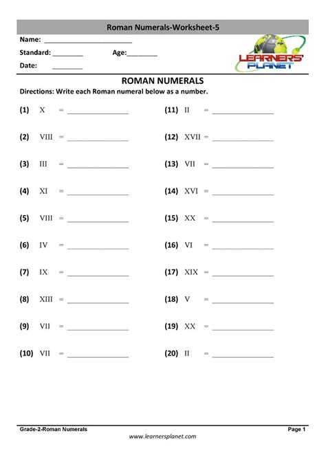 grade  roman numerals practice sheets animations tests