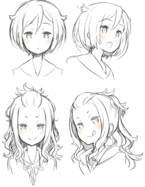 girl hairstyles poseposition reference anime manga