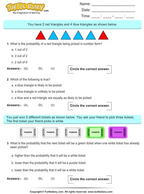probability  triangles worksheet turtle diary