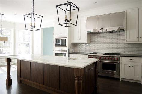 Backsplash Tile For Kitchen Ideas - white and brown kitchen with darlana medium lanterns transitional kitchen