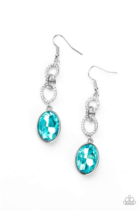 Paparazzi Extra Ice Queen - Blue Gem Earrings | A ...